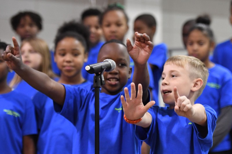 Mansfield Elementary students perform during all-school assembly