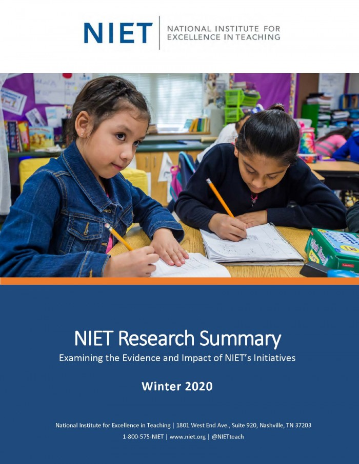 NIET Research Summary: Winter 2020