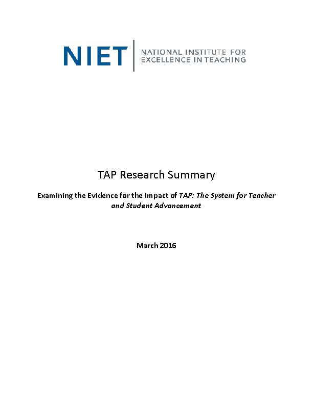 TAP Research Summary: March 2016