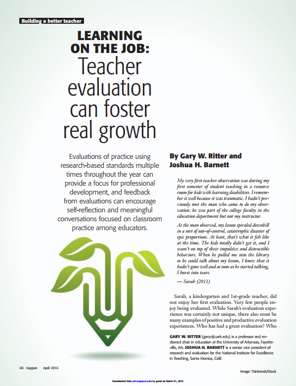Learning on the Job: How Evaluation Systems Can Support Teacher Growth