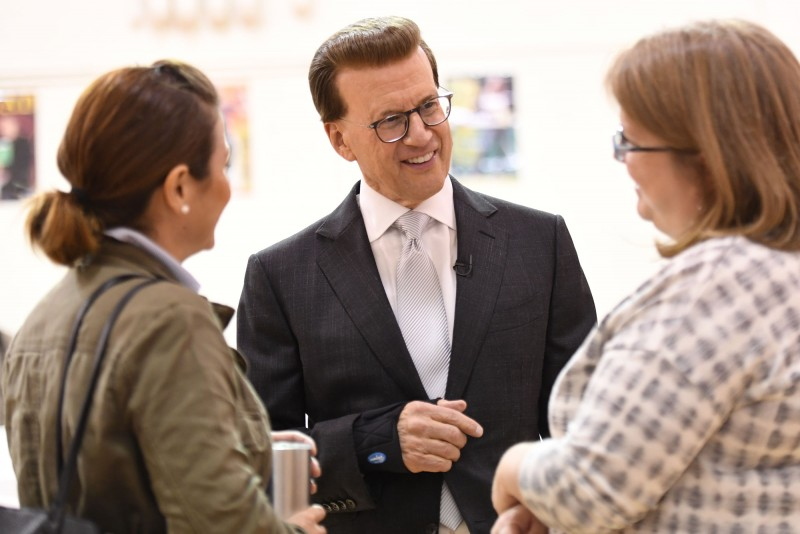 Lowell Milken Visits with Perry Township Educators