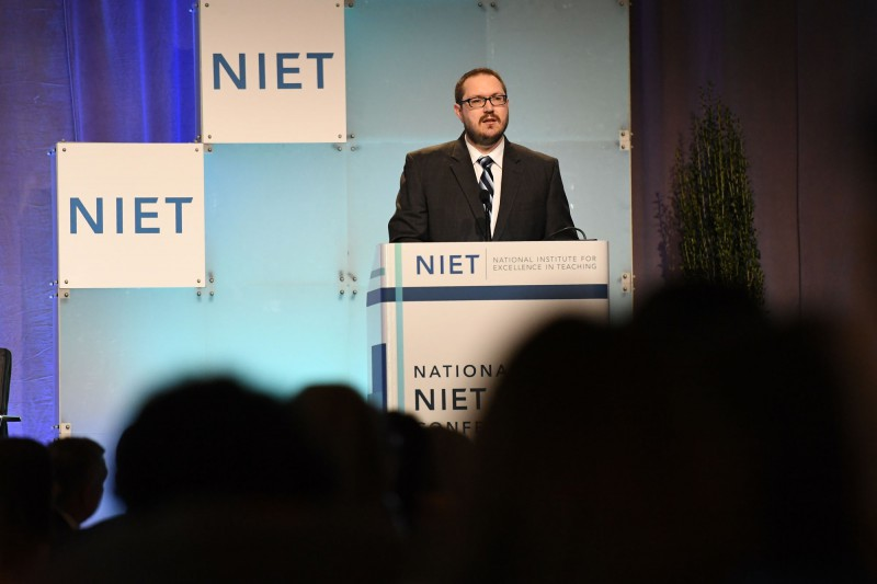 NIET Co-President and Chief Learning Officer Dr. Josh Barnett addresses NIET Conference
