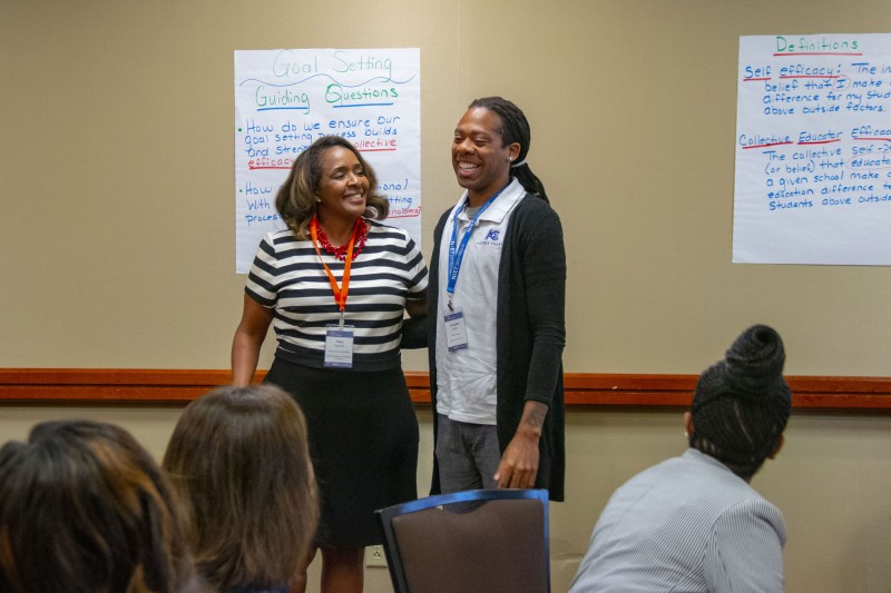NIET Senior Program Specialist Tracy Hypolite and Algiers Charter Teacher Douglas Butler at 2019 NIET Summer Institute