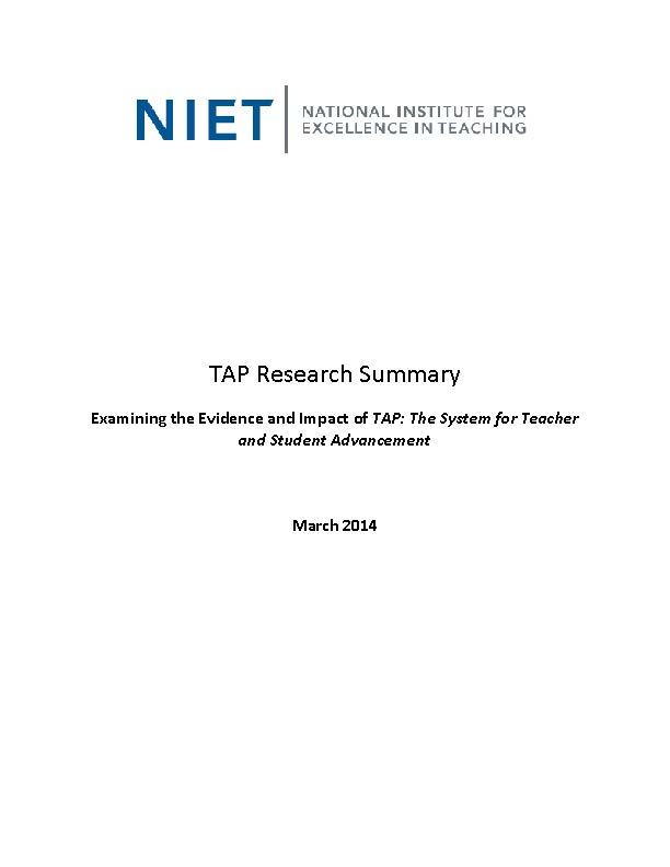 TAP Research Summary: March 2014